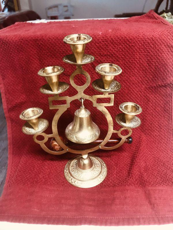 Vintage Brass Tree Of Life Candelabra Incense Burner With Bell And Wooden Bong
