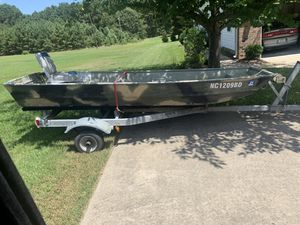 14' Jon Boat with Trailer for Sale in Raleigh, NC