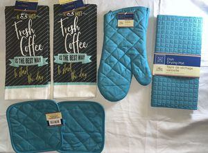 Fresh Coffee is the Best Way to start the day Turquoise Beautiful design kitchen hand towel set, Two Towels, Two pot holders, mitt and Dishes Drying for Sale in Fitchburg, MA