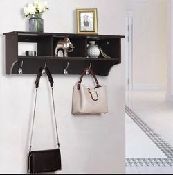 P11-5 ... Wall Mount Cubby Organizer Hooks Entryway Storage Shelf-Brown for Sale in City of Industry,  CA