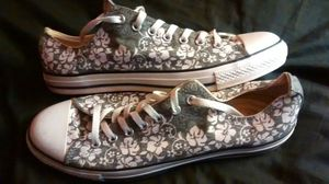 Smoke Gray Converse with White Flowers (Size 12) for Sale in Detroit, MI