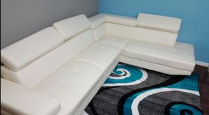 Brand New White Faux Leather Sectional Sofa Couch w/Adjustable Headrests for Sale in Silver Spring, MD