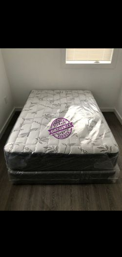 QUEEN MATTRESS PILLOW TOP COMFORT WITH BOX SPRING SET 👸ALL SIZES AVAILABLE KING QUEEN FULL TWIN 👸BED FRAME NOT INCLUDED COLCHONES CAMAS NUEVOS for Sale in Hialeah,  FL