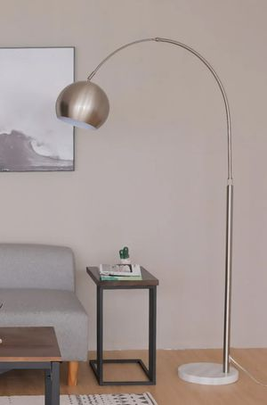Modern Arc Floor Lamp with 360 ° Rotating Hanging Shade, Marble Base Adjustable Nickel Reading Light for Sale in Ontario, CA