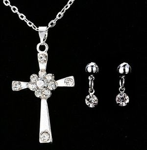 Classic Holy Faith Sterling Silver Clear Swarovski Element Crystal Cross Pendant Necklace Earrings Sets for Sale in Fort Lauderdale, FL