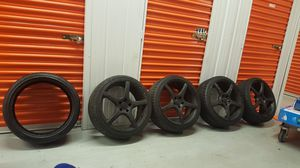 20 Inch 5 Star Black Rims(5 Lug) And New Low Profile Tires(Extra New Tire Included) for Sale in Tucker, GA