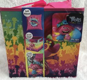 Trolls Pillow, Slumber Sleeping Bag & Storage Cube Set, Brand NEW! Porch Pickup or Can Ship! for Sale in Roxbury Township, NJ