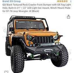 """Have a brand GSI Black Textured Rock Crawler Front Bumper with OE Fog Light Hole, Built-In 21"""" ~ 22"""" LED Light bar mount, Winch Mount Plate for 07-18 for Sale in UPPR MARLBORO,  MD"""