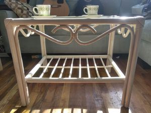 RATTAN GLASS TOP COFFEE / SIDE TABLE for Sale in Palm Beach, FL