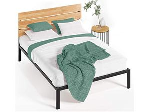 very gently used twin bed frame - Rustic wood /steel for Sale in Long Beach, CA