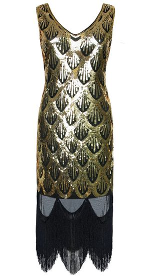Women's 1920s Sequined Fringe Gatsby Flapper Prom Dress Gold for Sale in Kent, WA