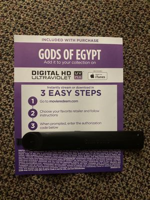 Gods of Egypt 4K digital movie code for Sale in Long Beach, CA