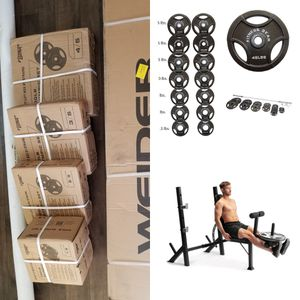 BRAND NEW Weider Lagecy Olympic Bench & 300LB OLYMPIC WEIGHT SET+7FT OLYMPIC BAR/ BARBELL& CLIP 100% CAST IRON PLATE for Sale in Menifee, CA
