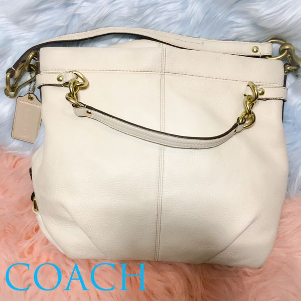 Coach white leather satchel hobo crossbody bag