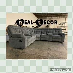 Gray Fabric Reclining Sectional for Sale in Marietta, GA