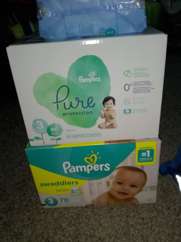 Pampers puré protection and Pampers swaddlers, wipes