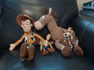 Woody lot 15 inch plushies and talking woody action figure for Sale in West Chicago, IL