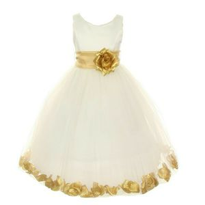 LITTLE GIRLS IVORY GOLD PETAL ADORNED SATIN TULLE FLOWER GIRL DRESS Size 6 for Sale in Boynton Beach, FL