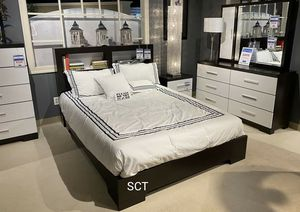 ♦️Pell White/Espresso Panel Bookcase Bedroom Set ♦️ for Sale in Austin, TX
