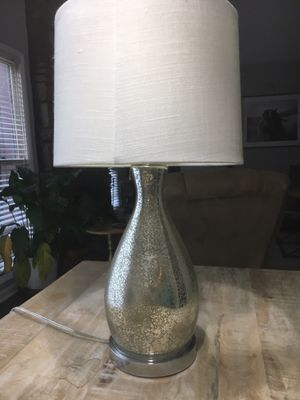 Table lamp, white linen shade, crackled silver base for Sale in Nashville, TN