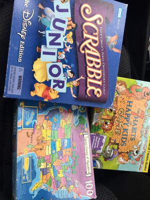 3 games. Scrabble 7 Habits of Happy kids and USMap puzzle for Sale in Las Vegas, NV