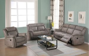 New Reclining set 3pc Grey Fabric for Sale in Kent, WA