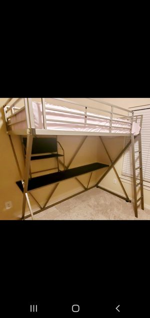 Pewter metal Loft bed with desk for Sale in Grapevine, TX