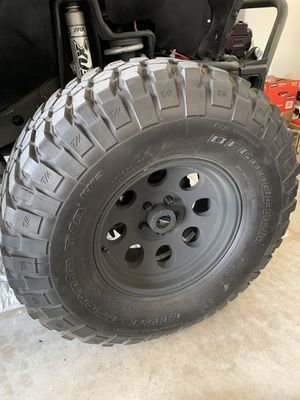Set of 5 BF Goodrich tires 35s with Procomp wheels 5x4.5 bolt pattern fit Jeep TJ for Sale in Doral, FL