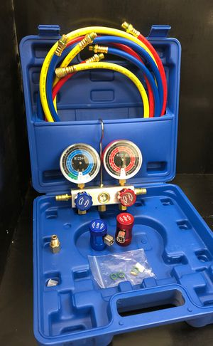 R1234yf refrigerant automotive AC Freon service charging manifold gauge set for Sale in Hacienda Heights, CA