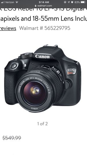 Canon Black EOS Rebel T6 EF-S IS Digital Camera with 18 Megapixels and 18-55mm Lens Included for Sale in Newport, RI