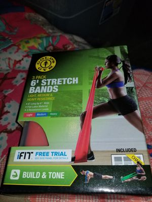 """Gold Gym 6 Stretch Bands Exercise Chart 3 Pack 6 L X 6"""" W for Sale in Baltimore, MD"""