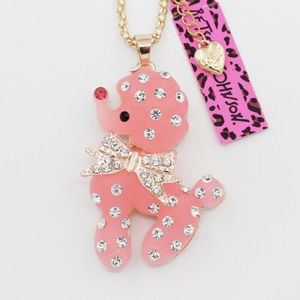 Betsey Johnson Pink Resin Poodle Puppy designer 3 D Necklace with channel set rhinestones 3' WIDE ON 18 INCH GOLD CHAIN GIFT BOXED i SHIP for Sale in Northfield, OH