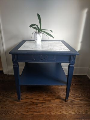 Dark Blue / Navy & Marble End Table w/ Gold Accents for Sale in Seattle, WA