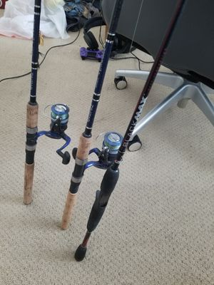 Abu garcia black max casting rod and daiwa samurai spinning combos for Sale in Visalia, CA