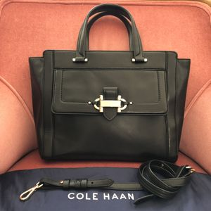Cole Haan Women's Black Leather Handbag Crossbody Shoulder Bag Attache Professional Office Work for Sale in Los Angeles, CA