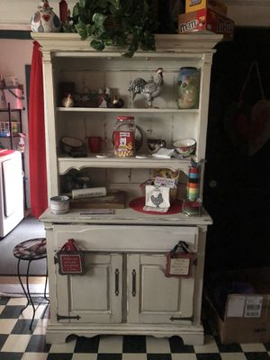 Antique was cherry stressed and painted antique white, has to doors at top with glass u can see thru, I just prefer without but still have for Sale in Murfreesboro, TN