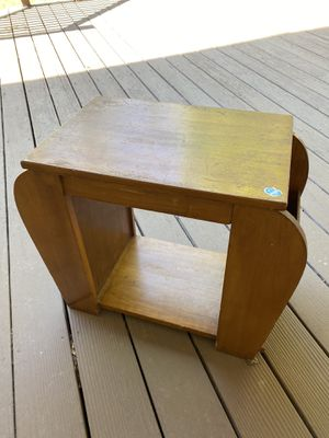 Small 60s wooden side table end table coffee table with side storage for Sale in Centennial, CO