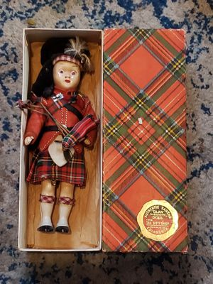 Antique authentic tartan clan doll W/bagpipes & original box for Sale in Columbus, OH