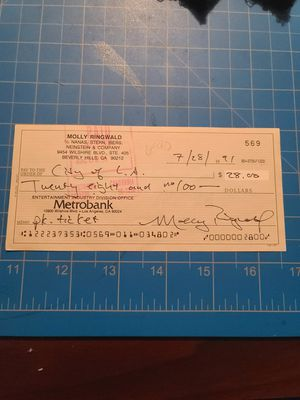 Molly Ringwald Signed Check from 1991 for Sale in Woodbridge, VA