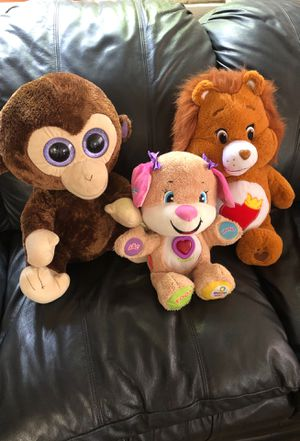 Stuffed animals toys, TY monkey, Fisher price smart stages, Care Bear lionheart for Sale in San Diego, CA