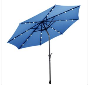 10 ft Patio Solar Umbrella with Crank and LED Lights-Blue - OP2805BL for Sale in Rancho Cucamonga, CA