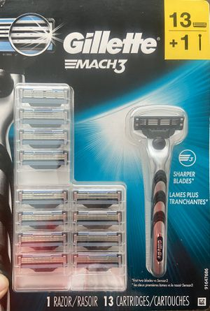 NEW Gillette Mach3 Men's Razor, Handle + 13 Blade Refills. for Sale in Fountain Valley, CA
