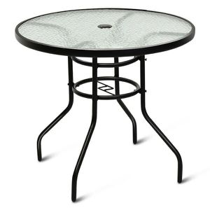 32'' Patio Round Table Tempered Glass Steel Frame Outdoor Pool Yard Garden for Sale in South El Monte, CA