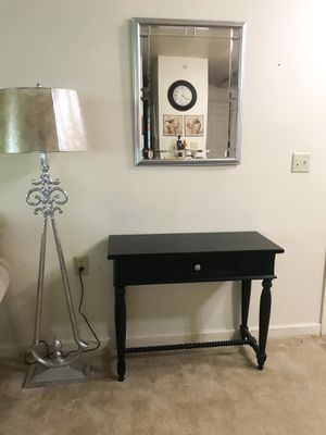 Black console table and wall mirror for Sale in Purcellville, VA