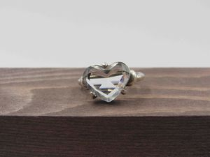 Size 6.25 Sterling Silver Rustic Glass Heart Band Ring Vintage Statement Engagement Wedding Promise Anniversary Cocktail Friendship for Sale in Lynnwood, WA