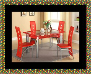 Glass red dining table with leather chairs for Sale in Crofton, MD
