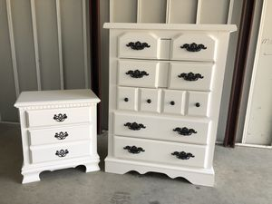 White 5 Drawer Tallboy Dresser With Nightstand for Sale in Lake Ridge, VA
