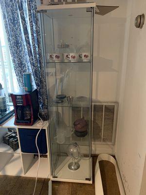 2 Ikea glass cabinet. white shelves. for Sale in Alexandria, VA