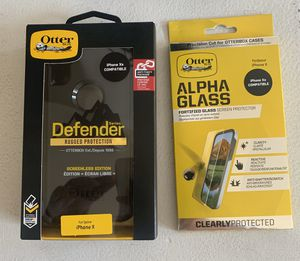 OtterBox Defender Phone Case and Alpha Glass for IPhone X/Xs for Sale in Palatine, IL