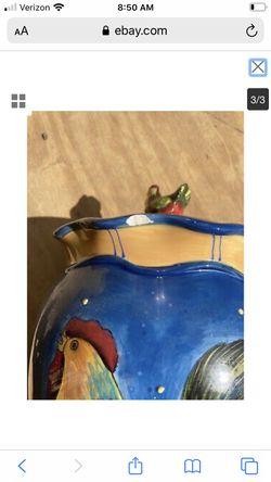 Susan Winget ceramic rooster cookie jar for Sale in Glenwood,  MD